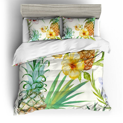 3D White Watercoulor Pineapple  Bedding Set Quilt Cover Quilt Duvet Cover ,Pillowcases Personalized  Bedding,Queen, King ,Full, Double 3 Pcs