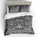 3D Black Grey Skull  Bedding Set Quilt Cover Quilt Duvet Cover ,Pillowcases Personalized  Bedding,Queen, King ,Full, Double 3 Pcs