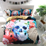 3D Colorful Flower Skull  Bedding Set Quilt Cover Quilt Duvet Cover ,Pillowcases Personalized  Bedding,Queen, King ,Full, Double 3 Pcs