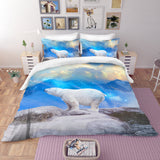 3D Blue Polar Bear Bedding Set Quilt Cover Quilt Duvet Cover ,Pillowcases Personalized  Bedding,Queen, King ,Full, Double 3 Pcs