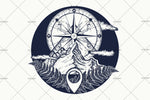 3D Mountain Top Compass Tattoo Wall Mural Wallpaper WJ 3048