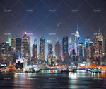 3D City Night View Cruise Ship Lake Mural Wallpaper WJ 1334