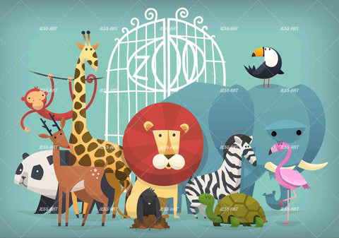 3D Cartoon Zoo Animals Wall Mural Wallpaper A297 LQH