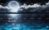 3D Landscape Night Moon Cloud Sea Wall Mural Wallpaper WJ 2133