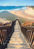 3D Stairs Ocean Nature Scene Wall Mural Wallpaper WJ 1363