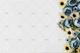 3D simple blue flowers wall mural wallpaper 10