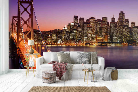 3D Pink Sky City Night View Wall Mural Wallpaper 3