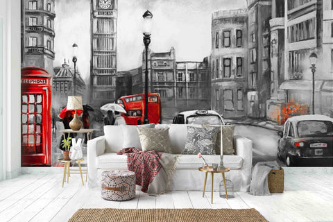 3D Black White City Hand Painting Wall Mural Wallpaper 24