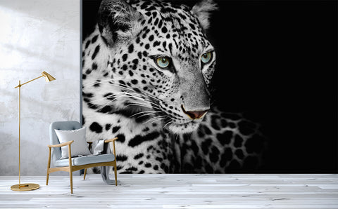 3D Black White Leopard Wall Mural Wallpaper 193