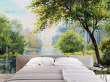 3D riverside green jungle wall mural wallpaper 2