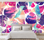 3D colorful leaf pattern wall mural wallpape 35