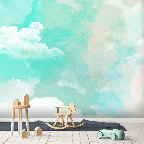 3D green color gradient wall mural wallpape 21
