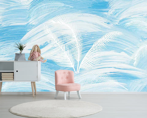 3D White Feathers Wall Mural Wallpaper 457