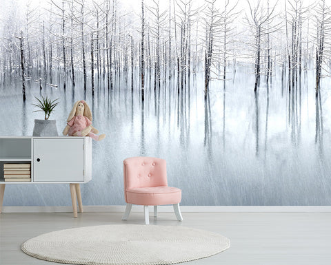 3D Snow Jungle Watercolor Wall Mural Wallpaper 218