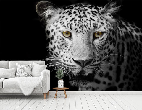 3D Black White Leopard Wall Mural Wallpaper 194