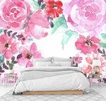 3D red peony watercolor wall mural wallpape 34