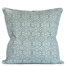 ASH - Hand block printed linen throw cushion