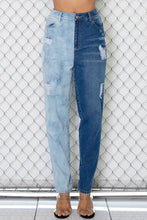 Load image into Gallery viewer, Ripped Vintage Half and Half Denim Jeans