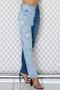 Ripped Vintage Half and Half Denim Jeans