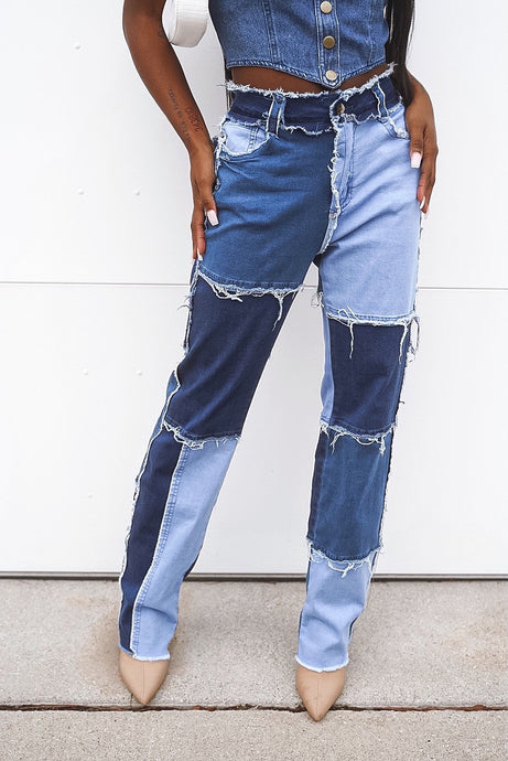 Gwen Color Block Denim Jeans
