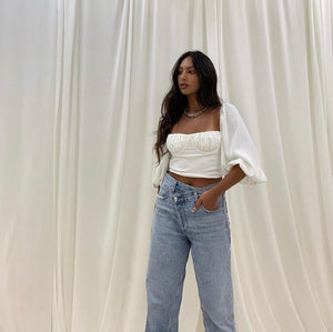 Delaney Balloon Sleeve Crop Top