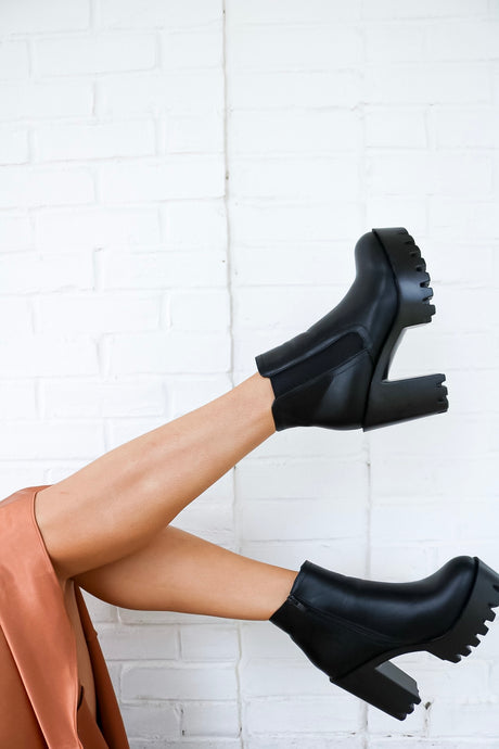 Chunky Cleated Black Booties