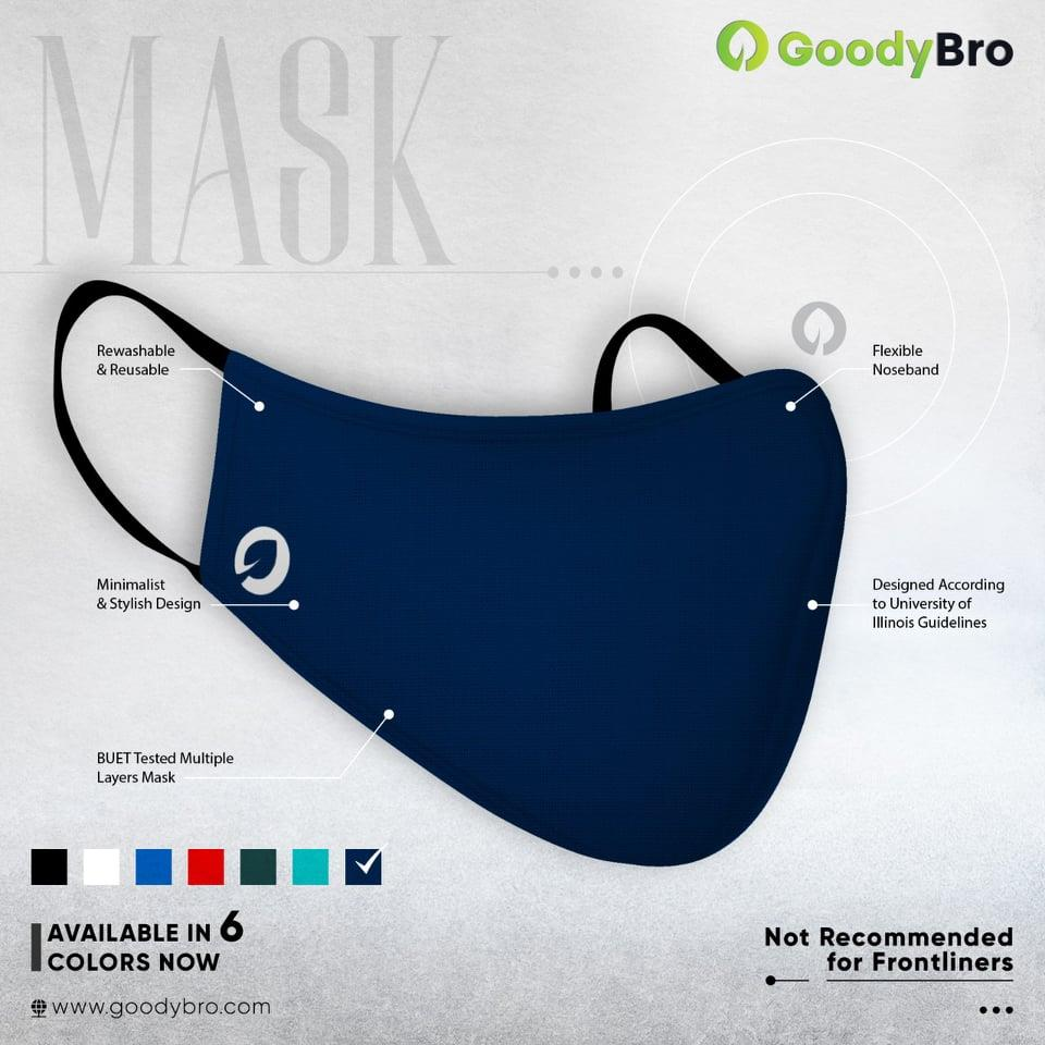 Stylish Mask - Navy Blue - GoodyBro
