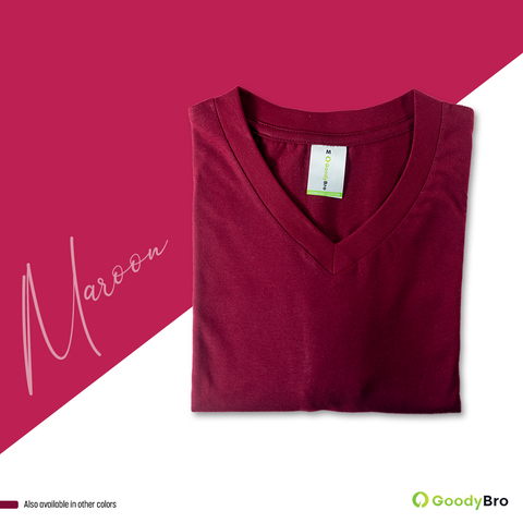 V-Neck Maroon Half Sleeves - GoodyBro
