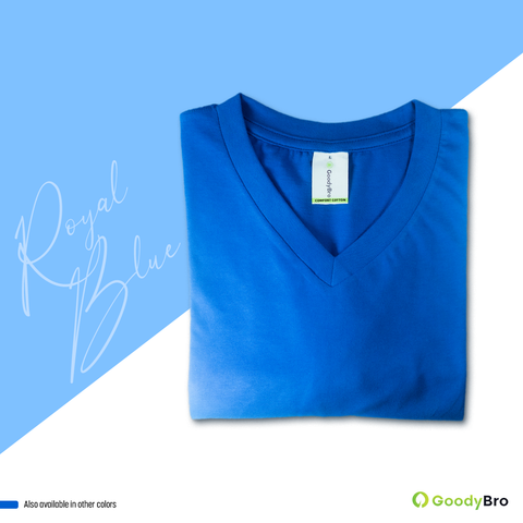 V-Neck Royal Blue Half Sleeves - GoodyBro
