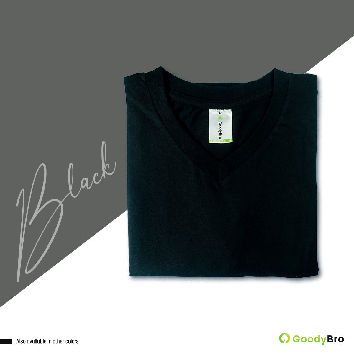 V-Neck Black Half Sleeves - GoodyBro
