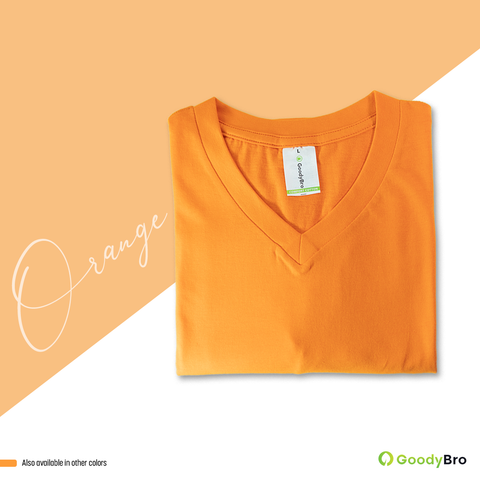 V-Neck Orange Half Sleeves - GoodyBro