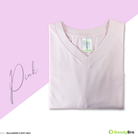 V-Neck Pink Half Sleeves - GoodyBro