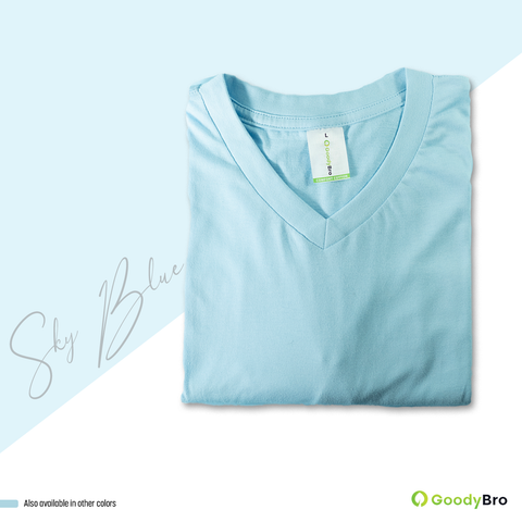 V-Neck Sky Blue Half Sleeves - GoodyBro