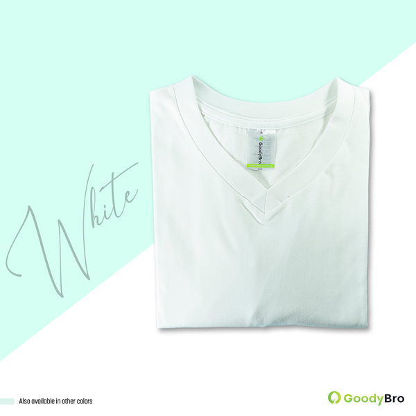 V-Neck White Half Sleeves - GoodyBro