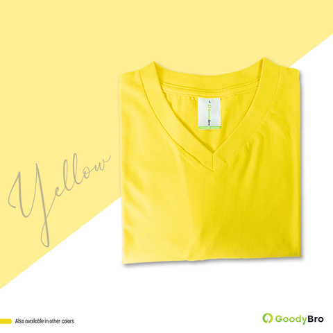 V-Neck Yellow Half Sleeves - GoodyBro