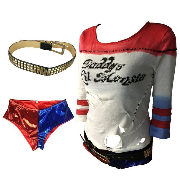 2016 Movie Suicide Squad Harley Quinn Cosplay Costume Full Set Daddy's Lil Monster T-Shirt