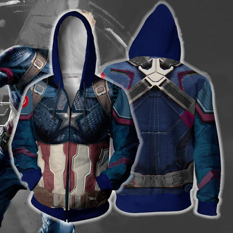 Avengers Endgame Captain America Cosplay Costume Movie Hoodie Sweatshirts