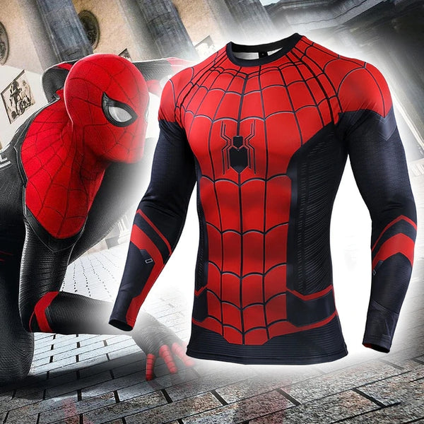 Spider-Man: Far From Home T-shirt Spider-man Costume Sport Tights Man Adult Top Spider Superhero Cosplay Costumes Quick-dry