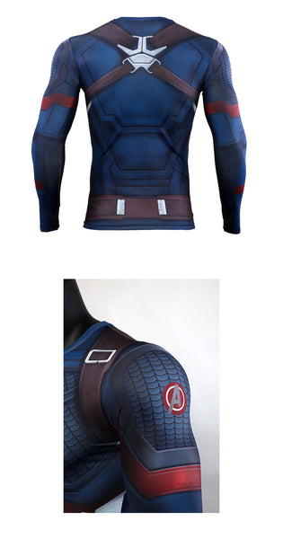 Avengers: Endgame Costume Tights Captain America T-shirt Steve Rogers Top Costumes Cosplay Marvel Superhero Halloween Party Prop