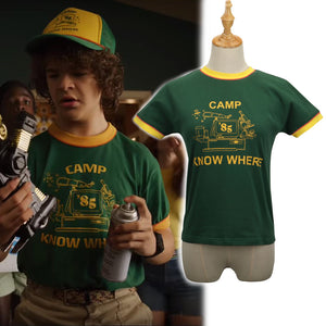 2019 Stranger Things Dustin T-shirt Kids Costumes Retro Mesh Trucker Top Yellow Green 85 Know Where Tee Cosplay Costume
