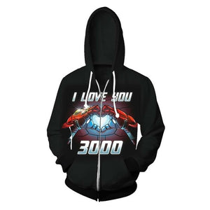 Tony Stark I Love You 3000 Hoodie Men The Avengers Iron Man Moive Costume Sweatshirt 2019 New Coat Casual Tops