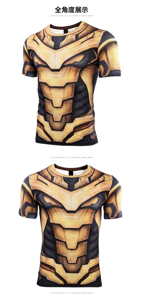 Thanos 3D Printed T shirts Men Avengers 4 Endgame Compression Shirt 2019 Summer Cosplay Costume Tights Short Sleeve Tops Male