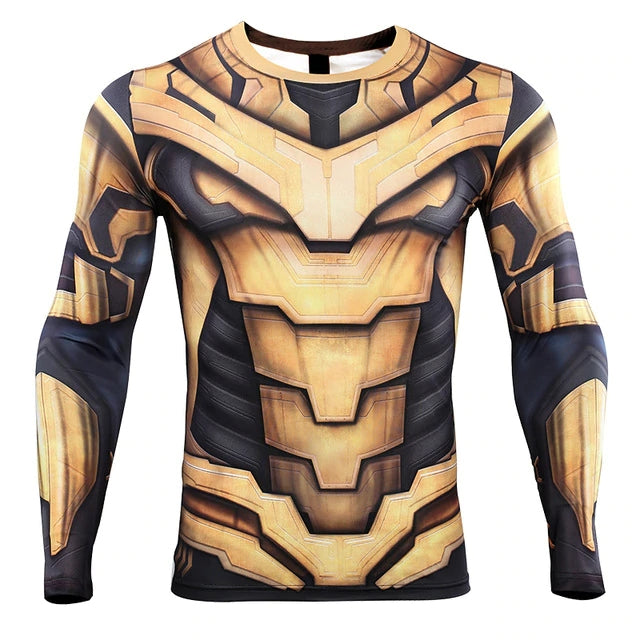 Thanos 3D Printed T shirts Men Avengers 4 Endgame Compression Shirt 2019 Summer Cosplay Costume Tights Long Sleeve Tops Male