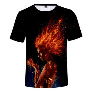 2019 Cosplay Costume X-Men: Dark Phoenix T-shirt Tops Men's Women's Jean Grey Shirts Tee for Adults Women Men Halloween Party