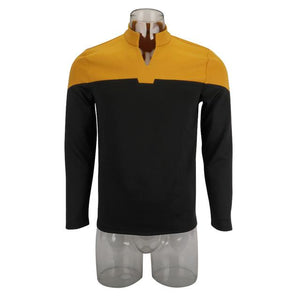 2019 Star Trek Picard Startfleet Uniform New Engineering Gold Top Shirts Halloween Cosplay Costume