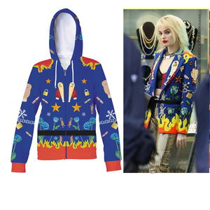 2020 Movie Birds of Prey Hoodie Cosplay Harley Quinn Margot Elise Robbie Cosplay Sweatshirt Jacket Coat