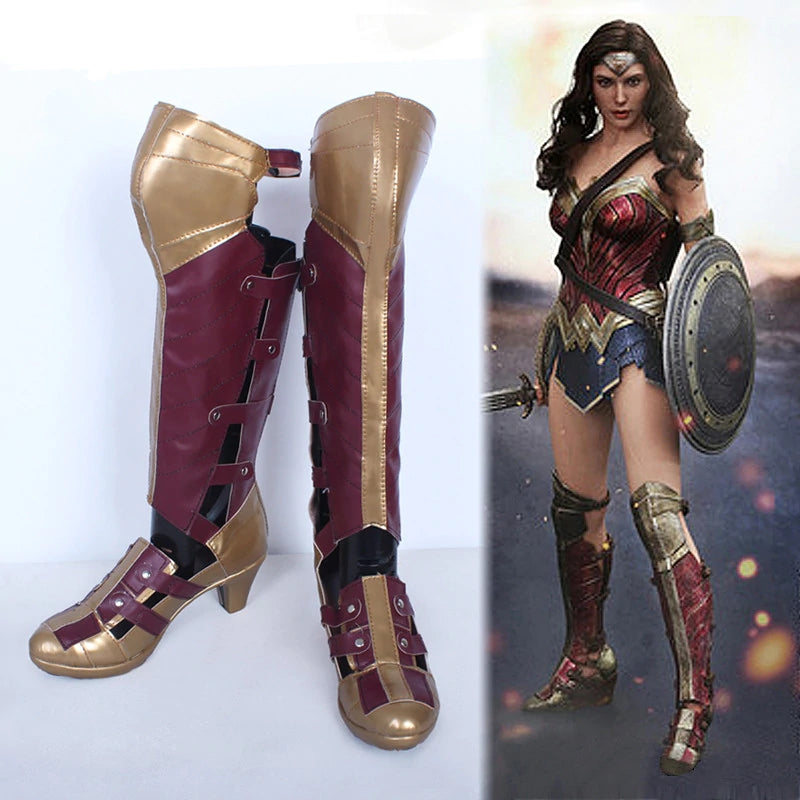 2017 Movie Wonder Woman Diana Princess Cosplay Boots Halloween Cosplay Shoes