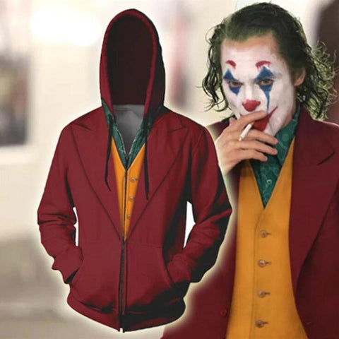 New 2019 Movie Joker Arthur Fleck Batman Clown Joaquin Phoenix Sweatshirt Zipper Hoodie Coat Adult Halloween Cosplay Costume
