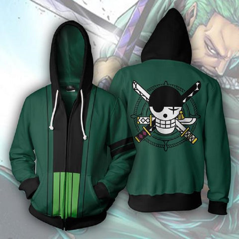 Anime ONE PIECE Roronoa Zoro Hooded Hoodies Sweatshirts Jackets Cardigan Coat Tops