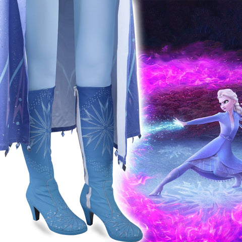 New Frozen 2 Cosplay Snow Adult Elsa Boots Costume Halloween Knee-high High Heel Elsa Shoes Costume Princess Ice Queen Elsa Prop